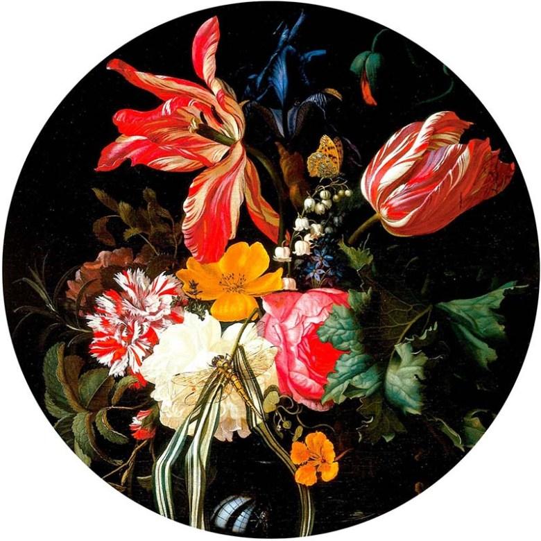 flowers decoupage tray image