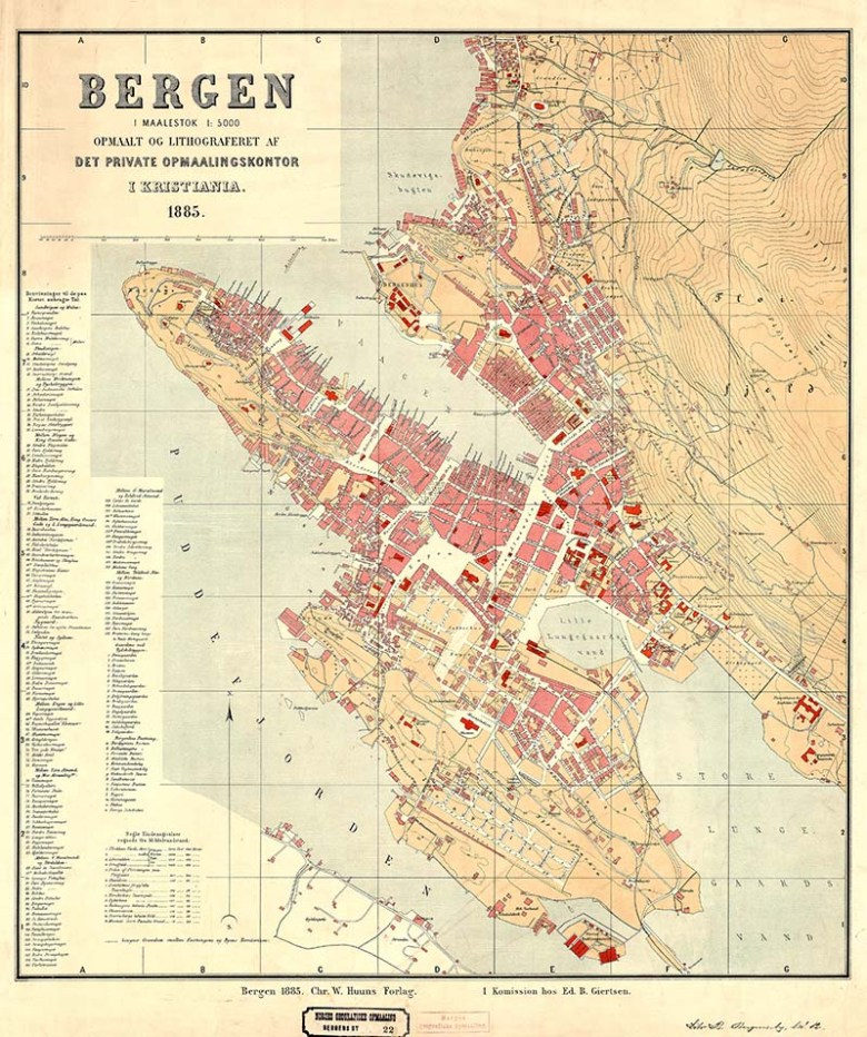 1885 Map of Bergen Norway