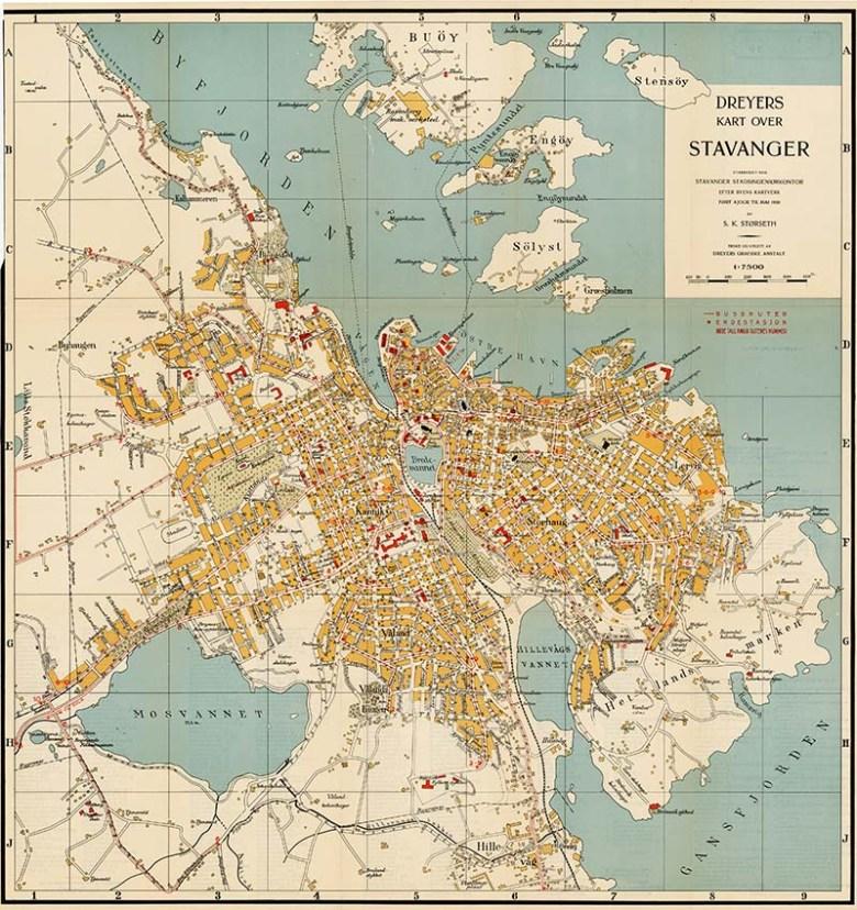 Vintage maps of Norway Stavanger