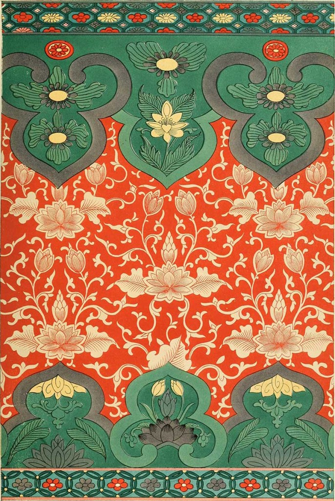 Teal and orange red pattern