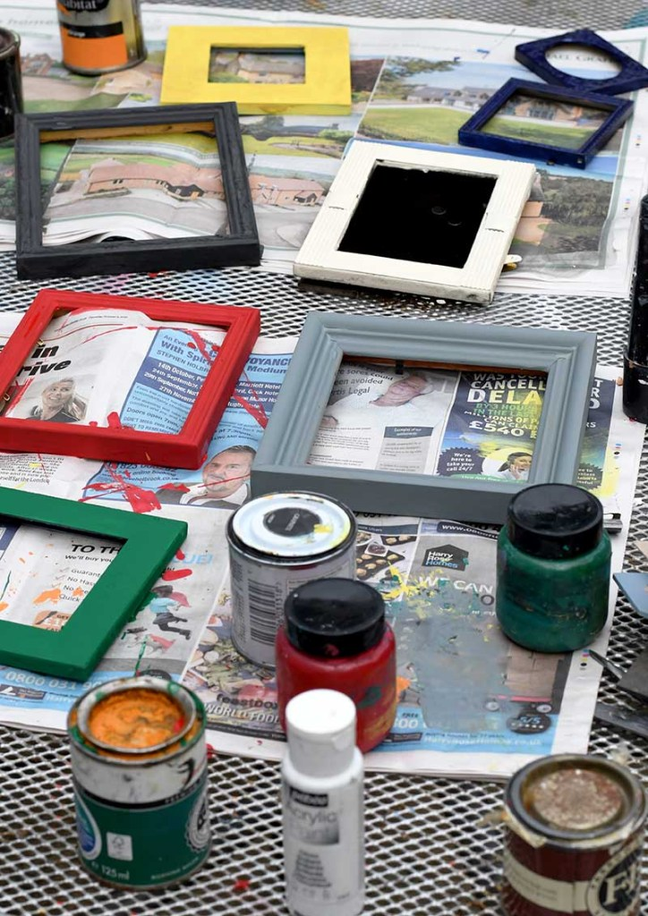 chalk painted picture frames.
