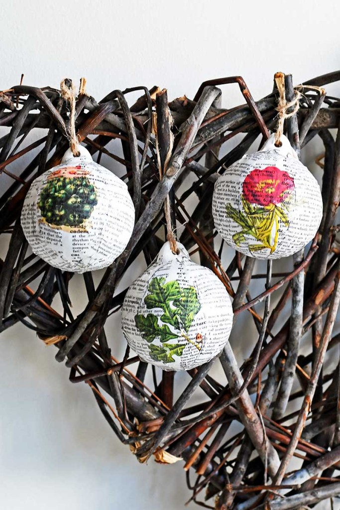 decoupage baubles with dictionary paper