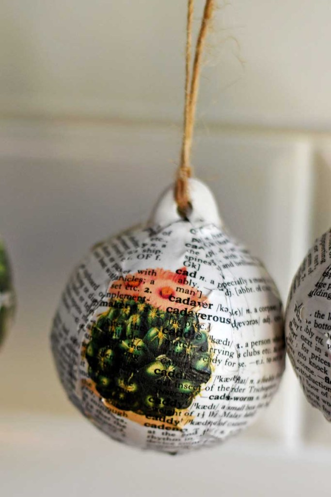 Dictionary decoupage bauble Christmas decoration