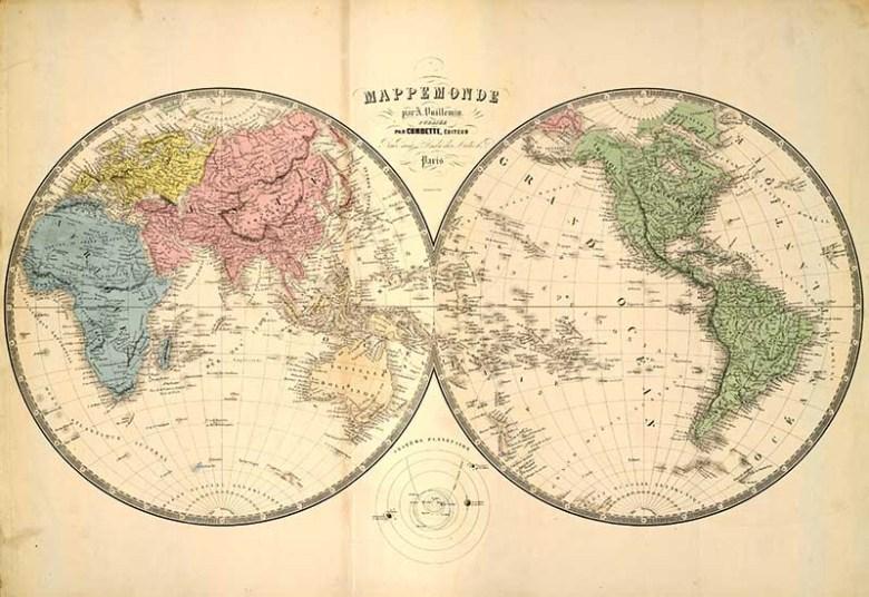 vintage world map double hemisphere