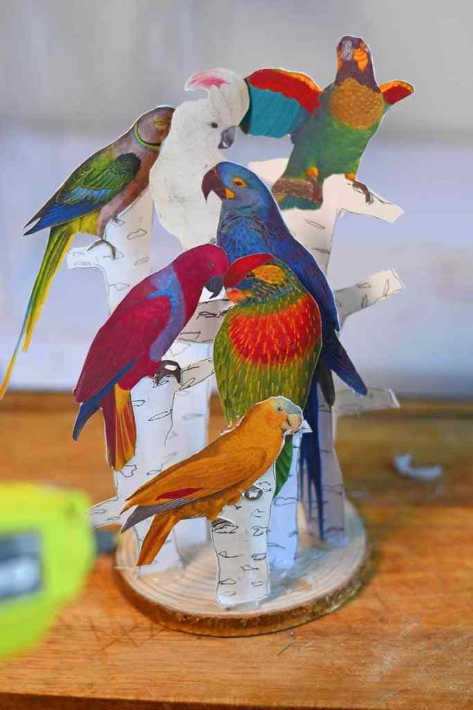 tropical parrot decor paper craft