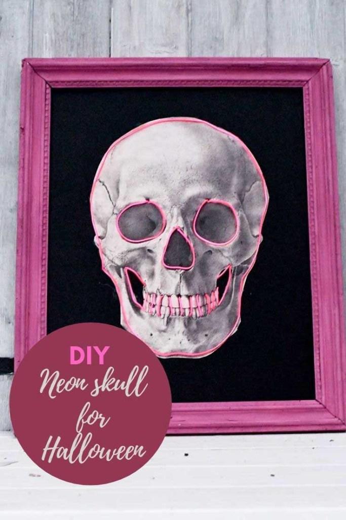 Neon DIY Halloween Skull deocoration