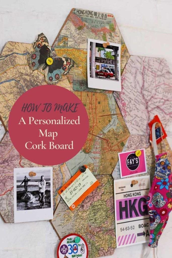 personalized DIY map cork board