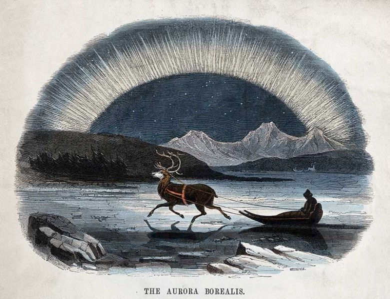 The Aurora Borealis, with a reindeer-drawn sleigh in the foreground