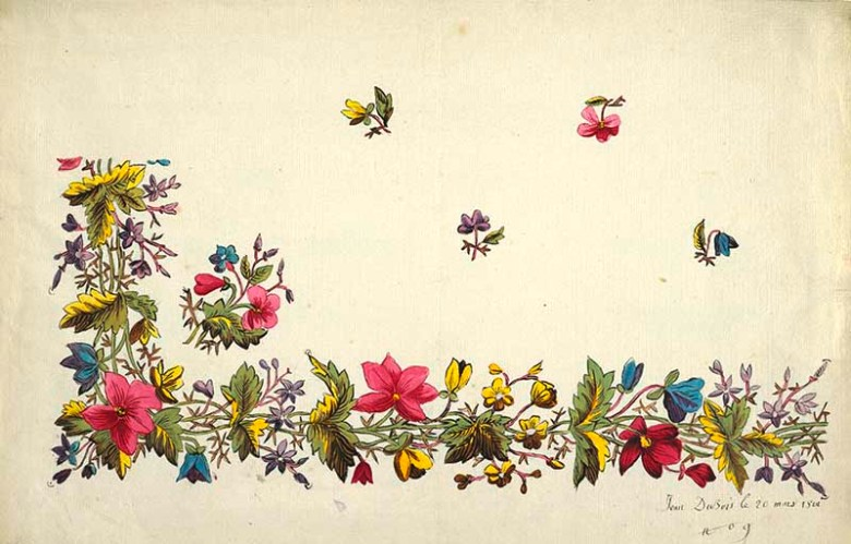 Floral border design, pink, yellow, blue flowers, green and yellow leaves