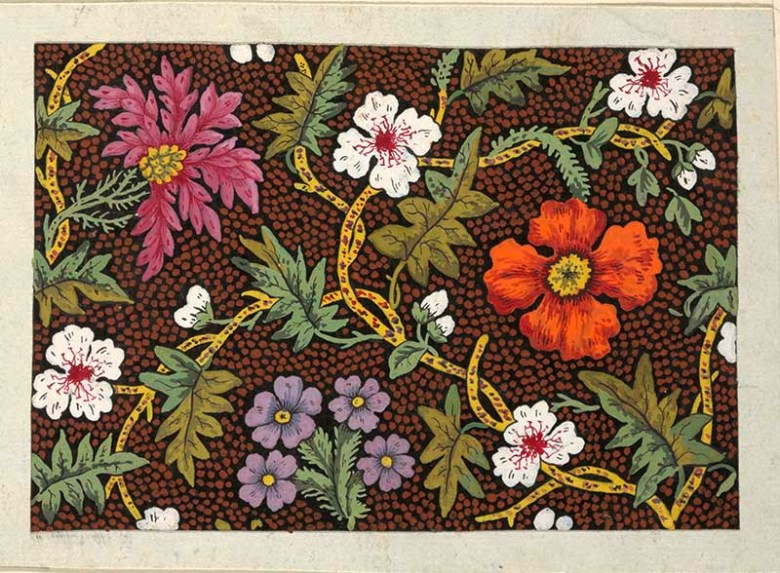 Orange, purple, pink and white flowers on dotted brown and black ground