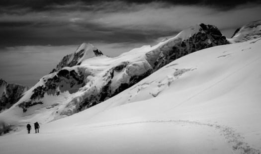 black white snow mountain
