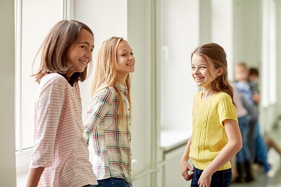 children waiting in line for school pictures