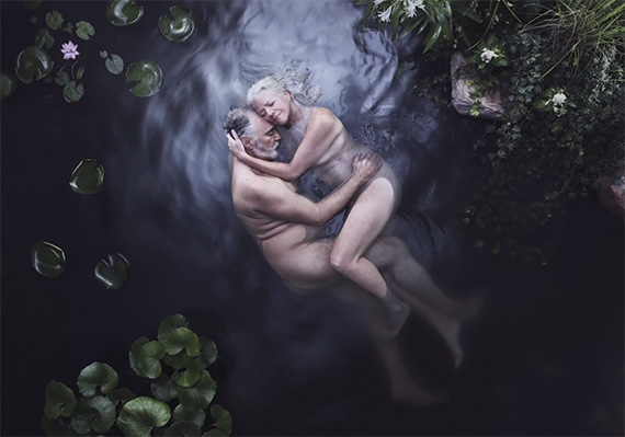 couple in pond