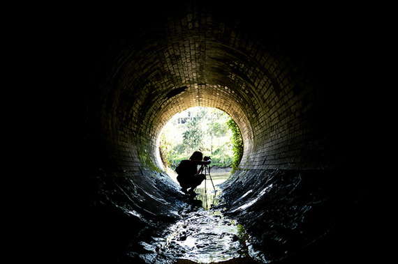 low tripod in tunnel