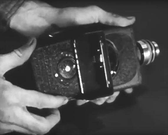 inserting film to vintage camcorder