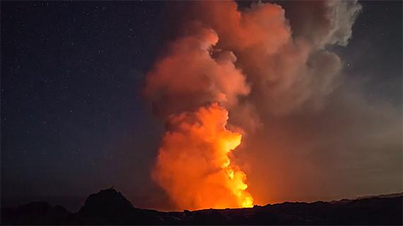 erupting volcano photo