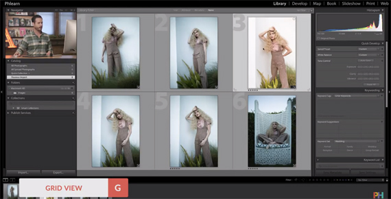"""""""G"""" is the LIghtroom shortcut for grid view"""