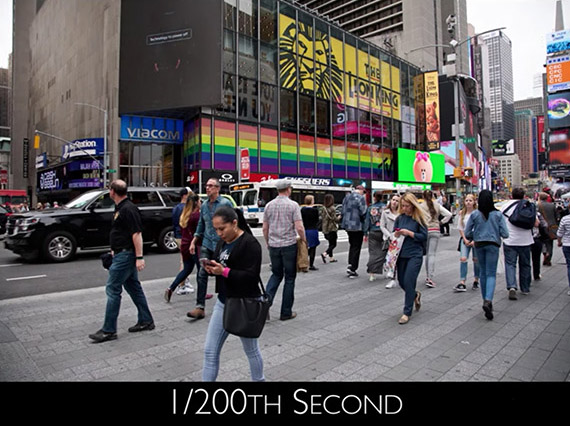 1/200 second exposure Time's Square