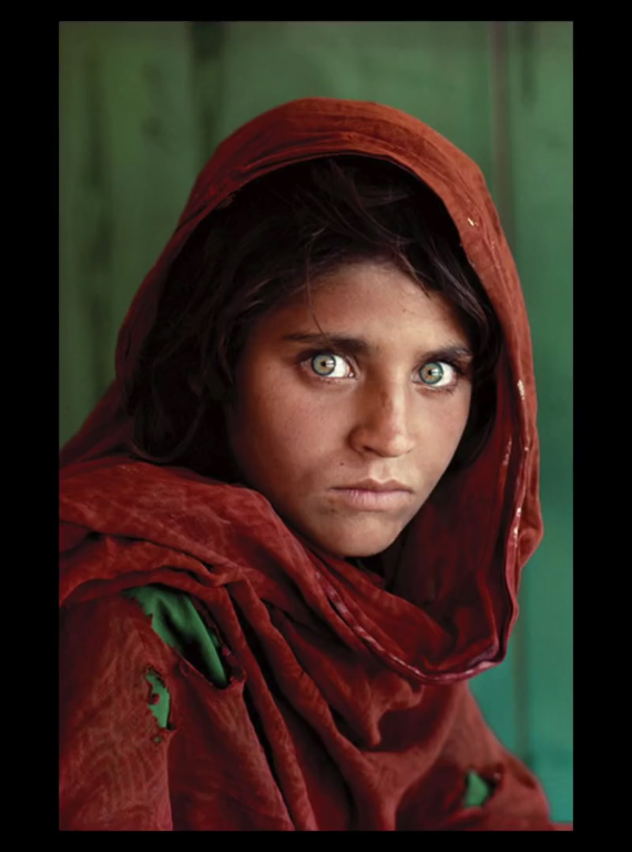 afghan girl image with minimal color palette