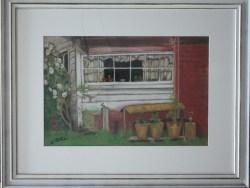 Framed Original Pastel Kitchen Window By L Patterson