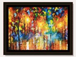 Autumn Street Rain Landscape Framed