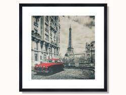 Paris Black & White Red Car Framed Print