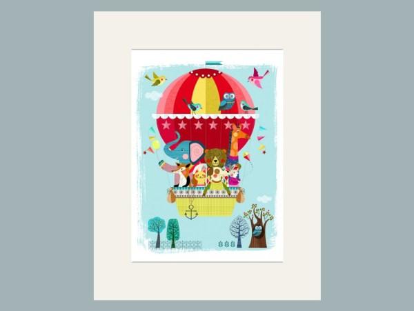 Balloon Adventure Matted Print by Ellen Giggenbach