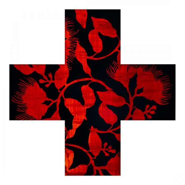 Pohutukawa Cross Black Print by Rae West