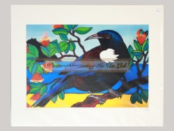 Tui In Pohutukawa Matted Print by Jo May