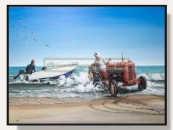 Launching The Boat Framed Print by Graham Young