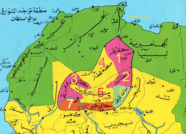 Colored regions showing the locations of Tuareg confederacies & territories (Temehu.com).