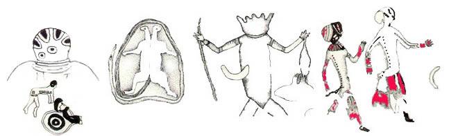 Prehistoric Saharan drawings of mythical nature