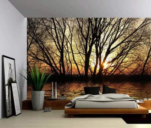 Landscape Autumn Forest Creek Self Adhesive Vinyl Wallpaper Peel Amp Stick Fabric Wall Decal