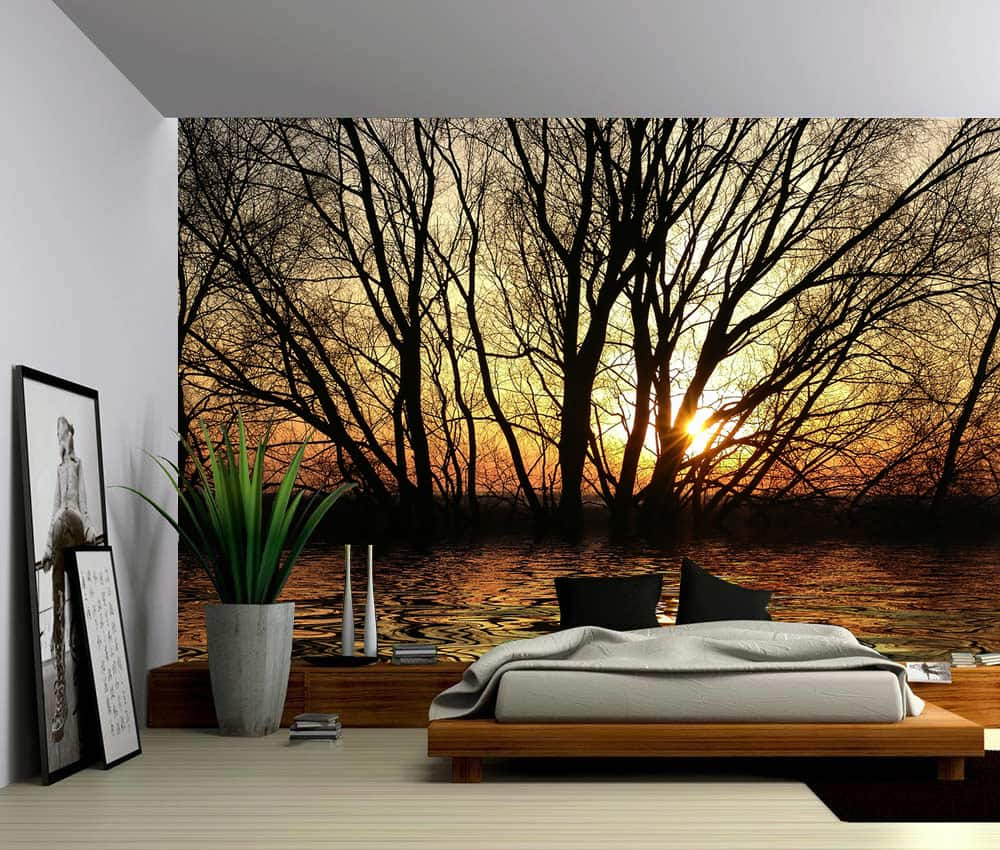 Landscape Sun Trees Autumn Forest Lake Self Adhesive Vinyl Wallpaper Peel Amp Stick Fabric Wall