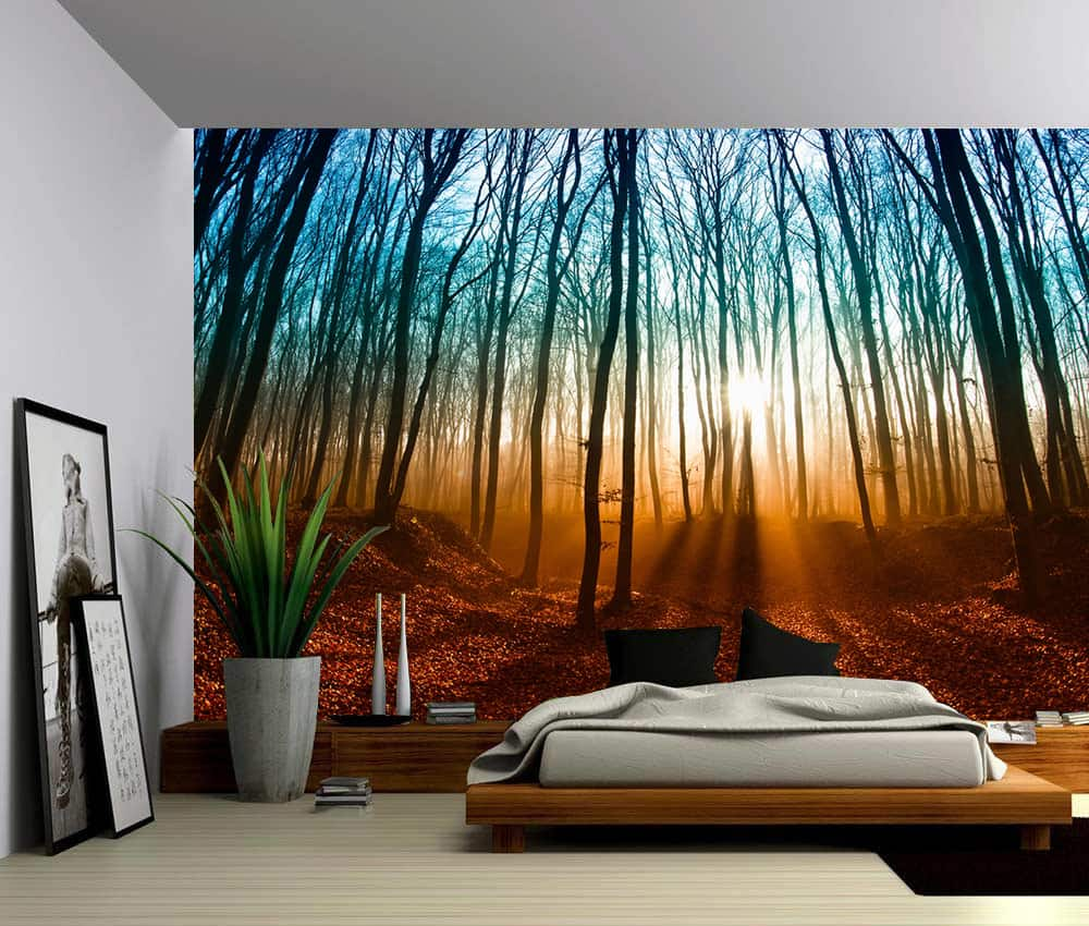 Landscape Autumn Magical Forest Self Adhesive Vinyl Wallpaper Peel Amp Stick Fabric Wall Decal
