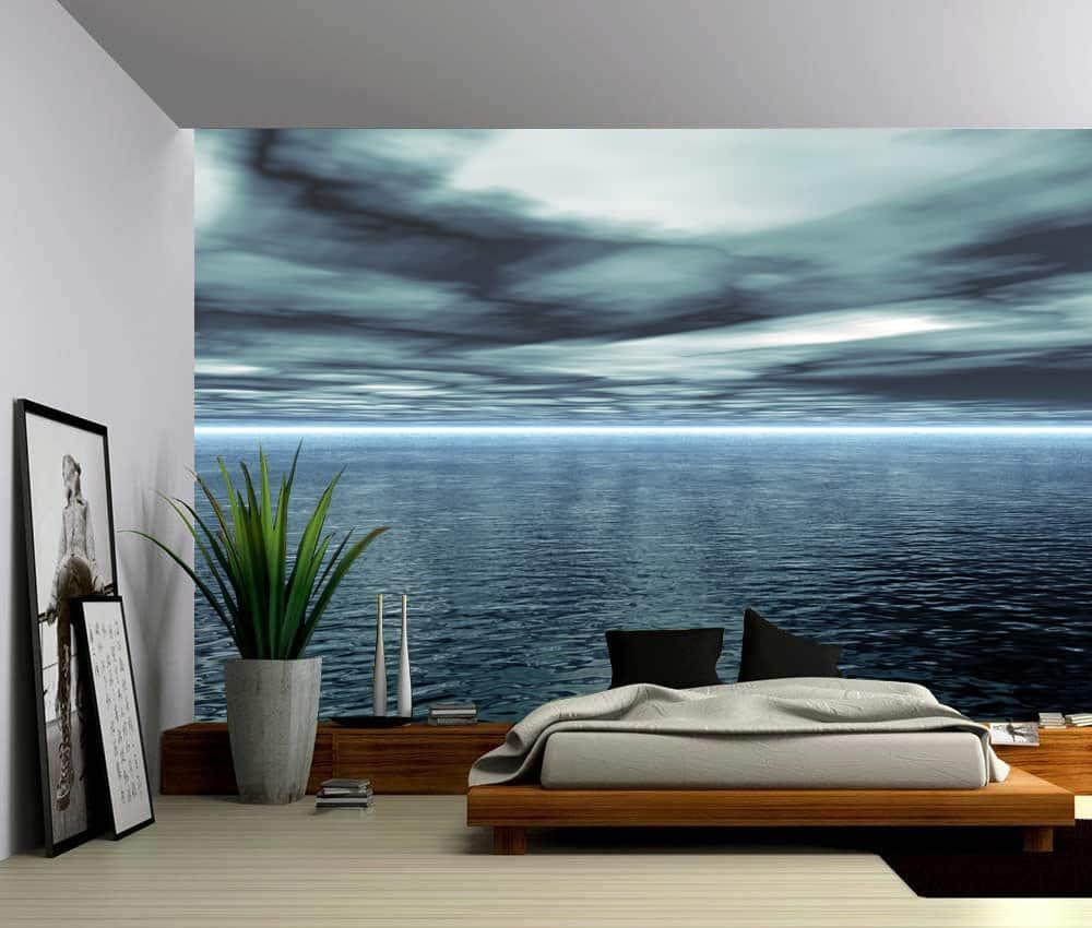 Seascape Blue Ocean Horizon Self Adhesive Vinyl Wallpaper Peel Amp Stick Fabric Wall Decal