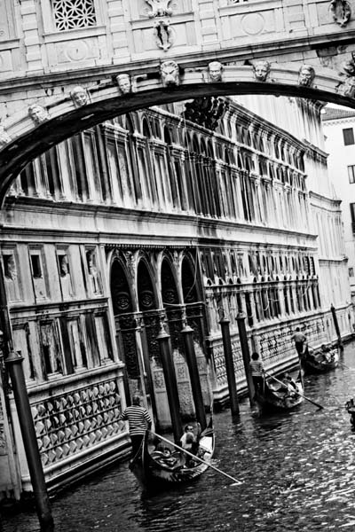 gondolas on the water in venice