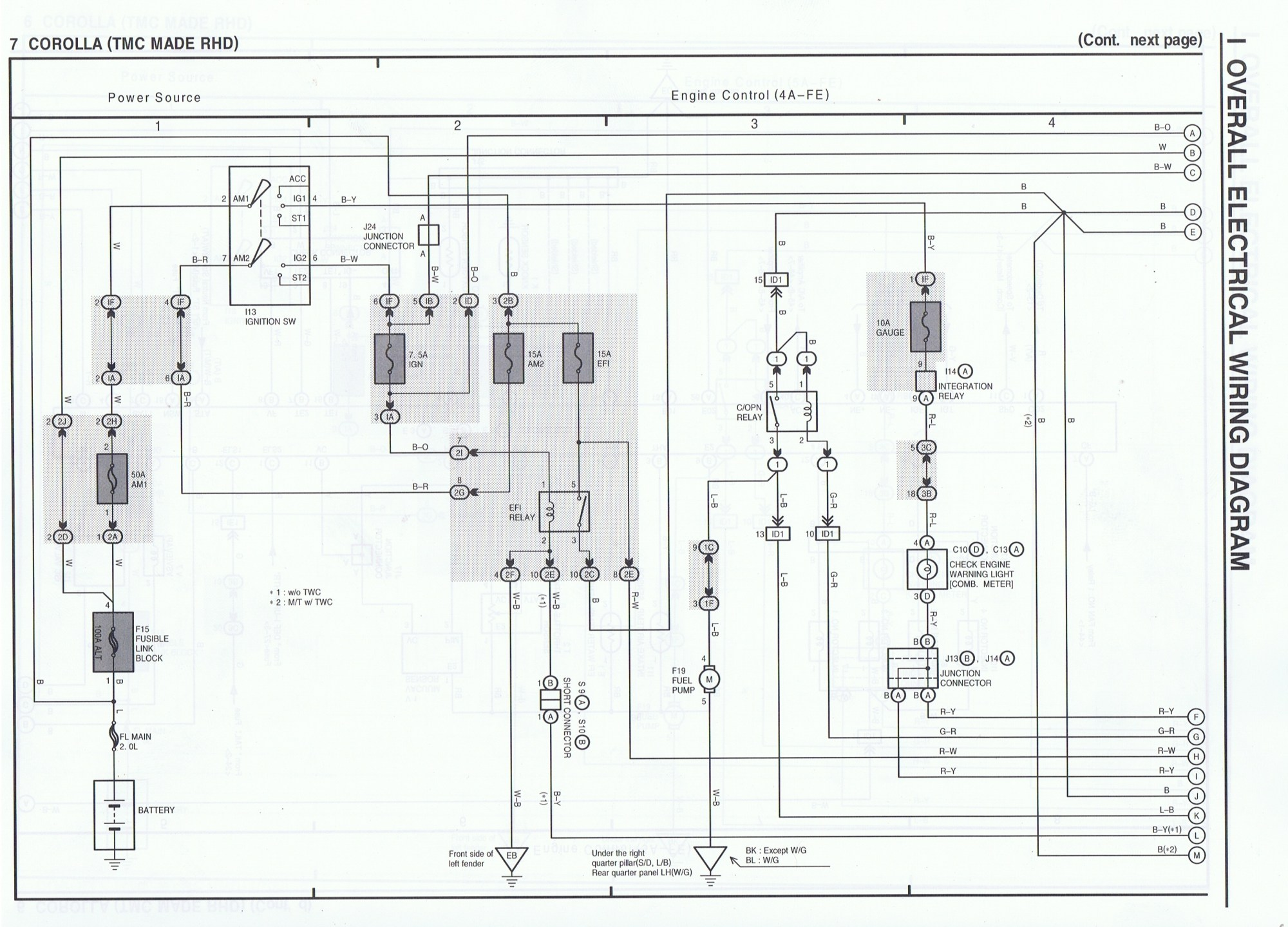 hight resolution of toyota ae111 4age advanced electrical wiring diagrams the ae111 toyota levin wiring diagram toyota levin wiring diagram