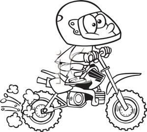 A Black and White Cartoon of an Adventurous Boy Racing Off