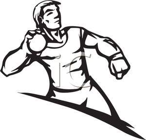 A Black and White Cartoon of an Athlete Throwing the Shot