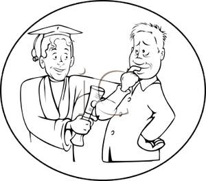 A Black and White Cartoon of Graduate Handing His Father