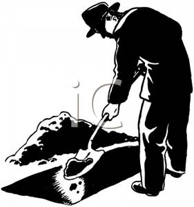 A Black and White Cartoon of a Man Digging a Grave - Royalty Free Clipart Picture