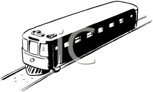 A Black and White Cartoon of a Train on the Tracks