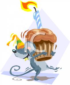 A Mouse Carrying A Birthday Cupcake Royalty Free Clipart Picture