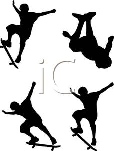 A Silhouette of Skateboarders Performing Aerial Jumps