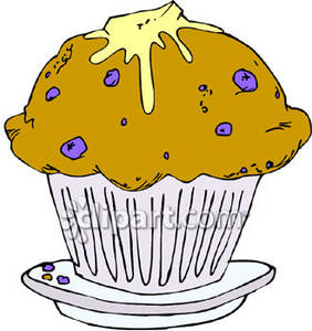 Blueberry Muffin with Butter Royalty Free Clipart Picture