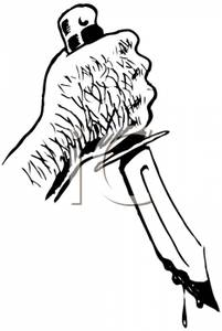 Cartoon of a Hairy Hand Holding a Knife Dripping with
