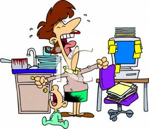 Cartoon of an Overwhelmed Single Mom Crying with Her Baby - Royalty Free Clipart Picture