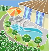 Swimming Pool In A Back Yard - Royalty Free Clipart Picture