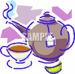 Tea Pot With A Cup of Tea - Royalty Free Clipart Picture